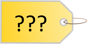 An illustration of a price tag with three question marks.