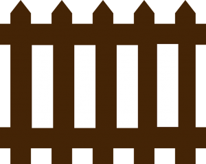 A clip art illustration of a brown picket fence.