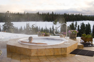 A Person Relaxing in a Hot Tub