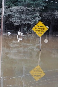 A FEMA flood warning sign surrounded by flood waters in Georgia.